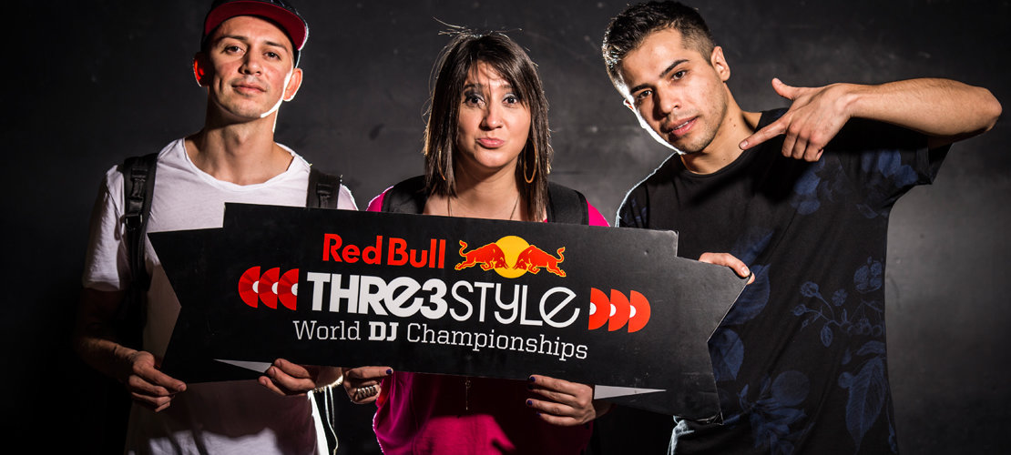 J.Espinosa (USA), DJ Cinara (Brazil), DJ Byte (Chile) pose for a portrait on the first night of the Red Bull Thre3Style 2015 World Final in Tokyo, Japan on September 15th, 2015