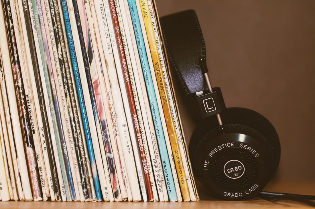 Records + Headphone on Shelf
